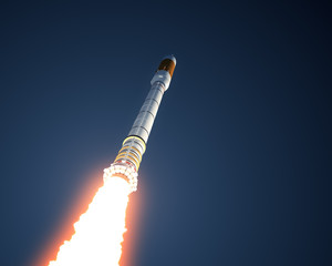 Fototapete - Carrier Rocket Takes Off In The Sky