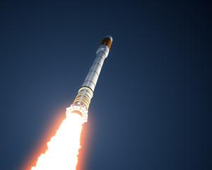 Fotobehang - Carrier Rocket Takes Off In The Sky