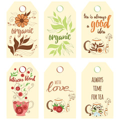 Tag collection with teapots