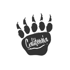 Californian bear paw print. Bear footprint with lettering and scratch. Stamp for apparel, t-shirt, textile. Vector illustration