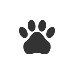 Paw print. Simple monochrome pets footprint. Vector icon, symbol