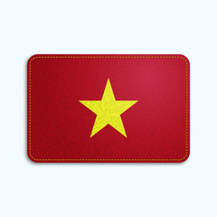 National flag of Vietnam with denim texture and orange seam. Realistic image of a tissue made in vector illustration.
