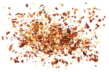 pile crushed red pepper, dried chili flakes and seeds isolated on white background, top view
