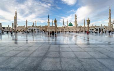 Muslims gathered for worship Nabawi Mosque, Medina, Saudi Arabia