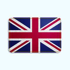 National flag of Great Britain with denim texture and orange seam. Realistic image of a tissue made in vector illustration.