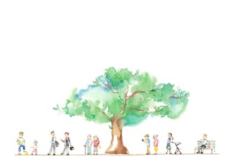 公園の大木、男性とシニア
