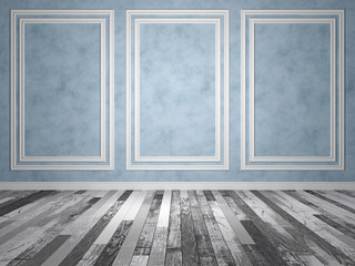 Empty abstract room with old wood floor. 3D Render