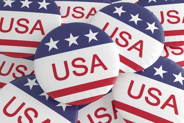 USA Politics Buttons: Pile of US Flag Badges, 3d illustration