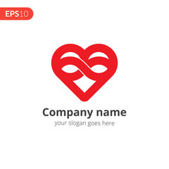 Heart red logo vector design. Love with loop icon symbol. Valentine's Day sign, emblem isolated on white background, Flat style for graphic and web design, logo.