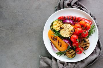 Grilled vegetables salad, top view