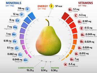 Vitamins and minerals of pear fruit. Infographics about nutrients in raw pear. Qualitative vector illustration for fruits, vitamins, agriculture, health food, nutrients, diet, etc