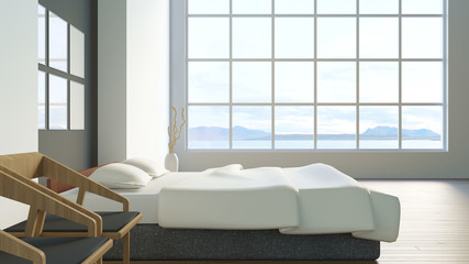 Modern loft bedroom / 3d render image