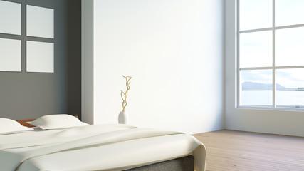 Modern loft bedroom / 3d render image