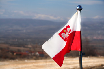 Polish flag with an eagle