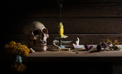 Skull and Bone on wooden plate in dim light with candle, Still Life and Select focus and visual art image.