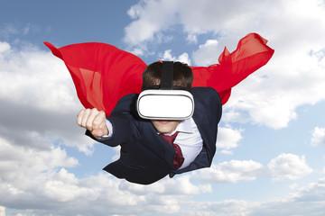 Superhero wearing virtual reality glasses flying