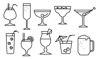 Icon set with alcohol cocktails. Thin simple line style collection with drinks