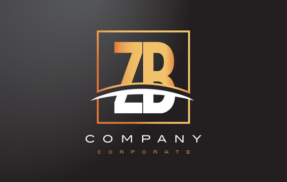 ZB Z B Golden Letter Logo Design with Gold Square and Swoosh.