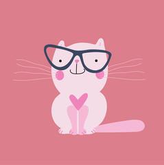 Cute vintage pink cat. Vector stock.