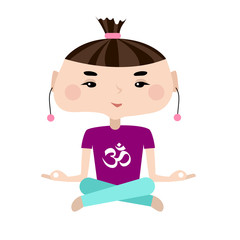 Young woman meditate in lotus pose. Colorful clothes with Sign Om. Flat style.