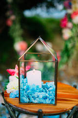 Candles in glass lamps. Wedding decorations. Wedding in Montenegro.