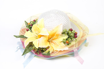 beautiful straw summer hat with colorful  flowers