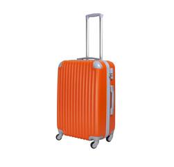 One suitcase isolated on white background. Polycarbonate suitcase isolated on white. Orange suitcase.