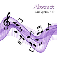 Abstract  musical background with purple waves