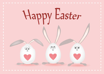 Happy easter. Rabbits with ears. Egg with a heart. Greeting card for the holiday. Free space for text