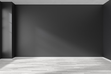 Empty room with white parquet floor and black walls