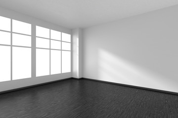 Empty room with black parquet floor, white walls and window