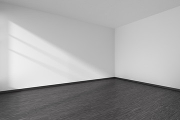 Corner of empty room with black parquet floor and white walls