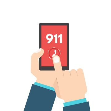 Emergency call, 911, call, phone in hand. Vector illustration.