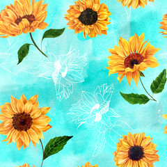 Seamless pattern with watercolor sunflowers on turquoise
