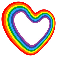 Vector icon of rainbow 3d heart. Love sign