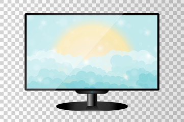 Realistic modern TV monitor isolated. Cartoon blue shining cloudy sky with sun. Vector illustration