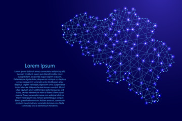 Map of Belgium from polygonal blue lines and glowing stars vector illustration