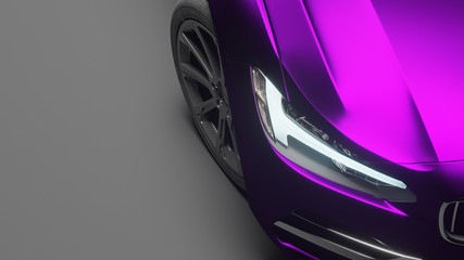 Car wrapped in violet matte chrome film. 3d rendering