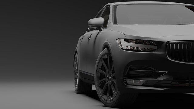 Car wrapped in black matte film. 3d rendering
