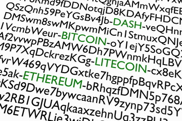 Crypto-currency addresses of letters and numbers. 3D rendering.