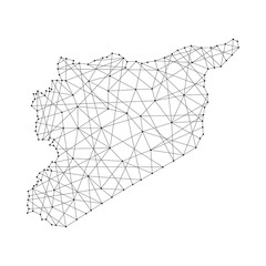 Map of Syria from polygonal black lines and dots of vector illustration