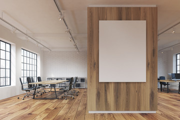 Long office with a poster, wood
