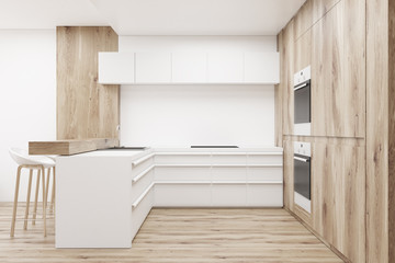 Wooden kitchen with counters