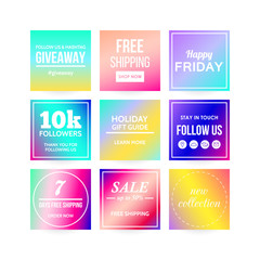 Modern sale banners template for social media and mobile apps. Colorful gradient background. Vector illustration