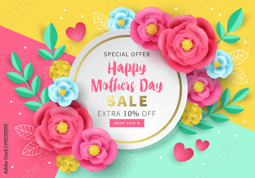 Mothers day sale banner template for social media advertising mothers day sale banner template for social media advertising invitation or poster design with paper stopboris Images