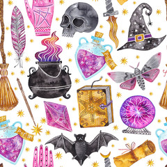 Watercolor magic seamless pattern. Witchcraft background