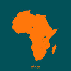 Simple silhouette of the map of Africa. Vector