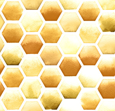 Honey bee honeycomb pattern on white background. Watercolor seamless pattern