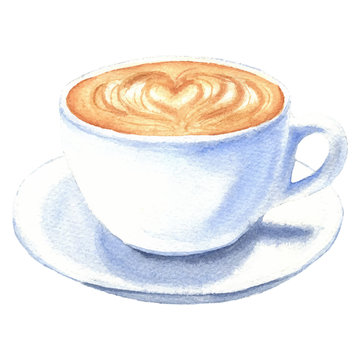Watercolor coffee cup, hand drawn latte drink illustrations, isolated on white background. Food design.