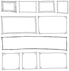 frames hand-drawn set vector